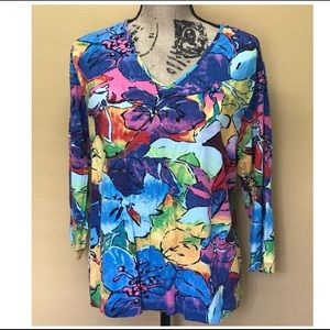 Chico's multicolored 3/4 sleeves blouse.